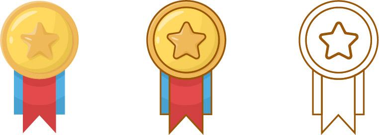 gold star medal set
